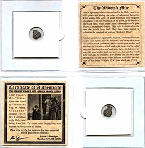 Widows Mite Bronze Coin - 1 IL Ancient Widow's Mite Christian Coin . of King Janeaus, Bronze Lepton,With MiniAlbum,Story & Certificate. 20mm Very Good