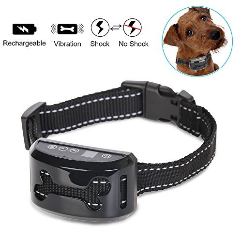 REXWAY Automatic No Bark Dog Collar, Safe Shock/Vibration Selectable Anti Bark Training System, Rechargeable & Waterproof Control Collar for Small, Medium and Large Dogs
