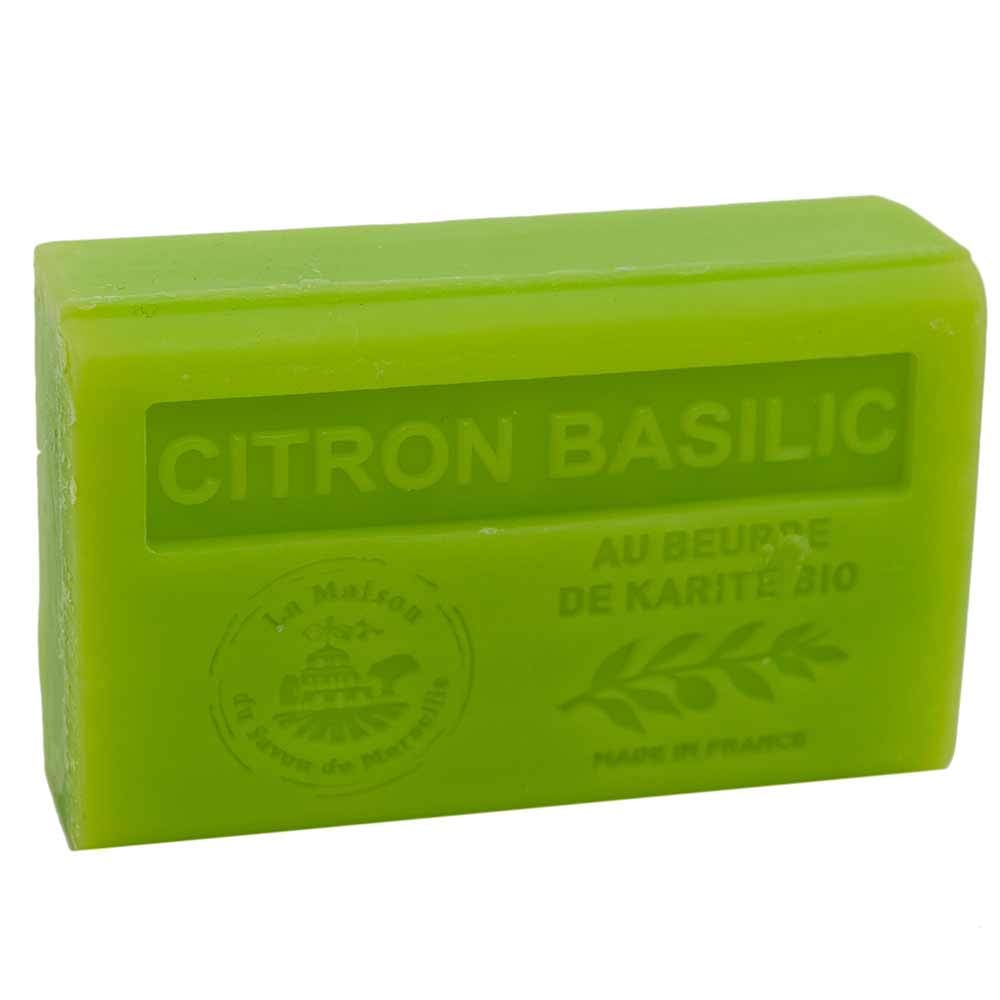 Savon de Marseille - French Soap made with Organic Shea Butter - Lemon Basil Fragrance - Suitable for All Skin Types - 125 Gram Bar