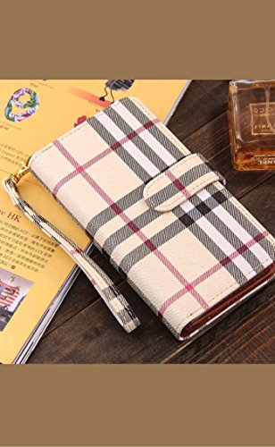 - For Samsung Galaxy S7 Edge Luxury Split 2 in1 Flip Wrist Strap Purse Wallet Case Cove with Card Slots For Samsung Galaxy S7 Edge (Plaid Pattern Beige)