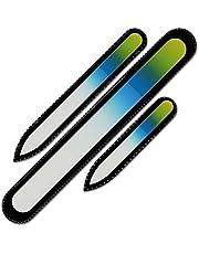 Mont Bleu set van 3 glazen nagelvijlen in een fluwelen zakje, regenboogkleuren, echt getemperd Tsjechisch glas – levenslange garantie – handgemaakt in Tsjechië – beste nagelvijlen voor natuurlijke nagels