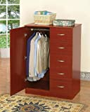 Cherry Finish Tuxedo Wardrobe Bedroom Storage Dresser
