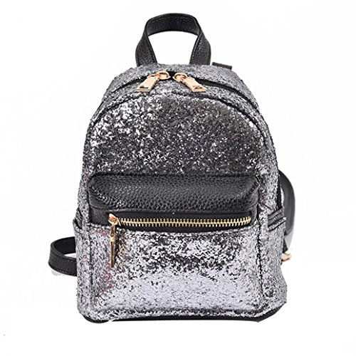School Backpack, Paymenow Women Fashion School Style Sequins Travel Outdoor Satchel School Bag (Silver)