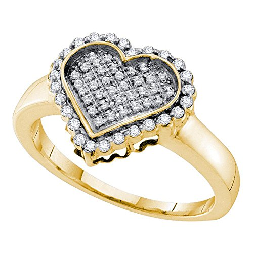 10kt Yellow Gold Womens Round Diamond Heart Cluster Ring 1/4 Cttw Ring Size 8.5