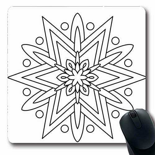 LifeCO Computer Mousepads Adults Book Black White Coloring Mandala Easy Simple for Pattern Beginner All Ages Abstract Color Oblong Shape 7.9 x 9.5 Inches Oblong Gaming Mouse Pad Non-Slip Rubber]()