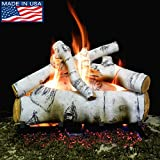 Myard 18'' inches SIERRA BIRCH Style Complete Fire Gas Logs Set with HEARTH KIT for Vented Gas Fireplace