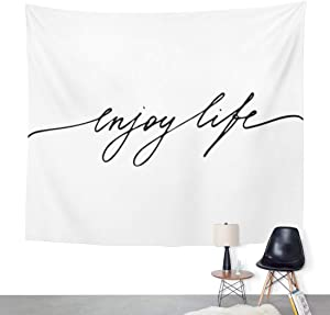 ArtSocket Tapestry Word Phrase Lettering Text Enjoy Life White Black Food Home Decor Wall Art Hanging for Living Room Bedroom Dorm 50 x 60 Inches Tapestry