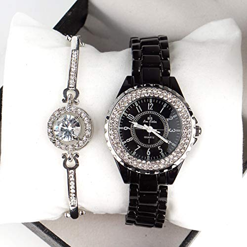 Women Ceramic Wrist Watch with Crystal Bezel and Link ()