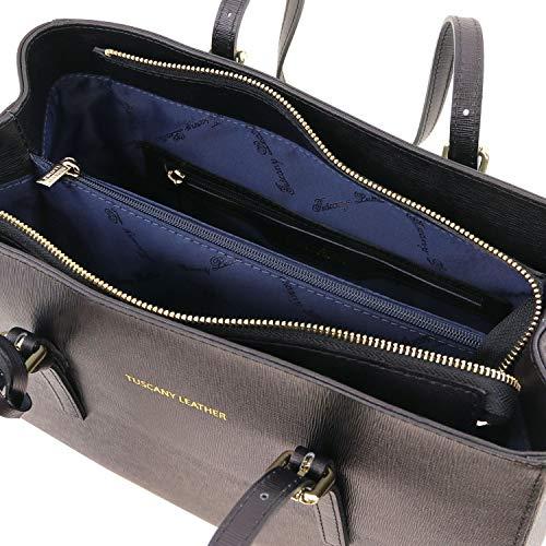 Azul Negro Tuscany Oscuro En Tlbag Leather Bolso Saffiano Piel Noche 0q0zr