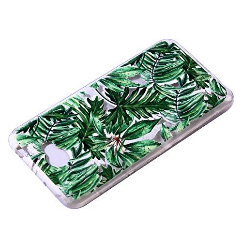 Funda Huawei Y5 II TPU Silicona Carcasa(con Gratis Pantalla Protector),KaseHom Elegante Hermosa Mariposa Azul Patrón [Shock-Absorción y Anti-Arañazos] Transparente Suave Flexible Caucho Caso Hojas verdes