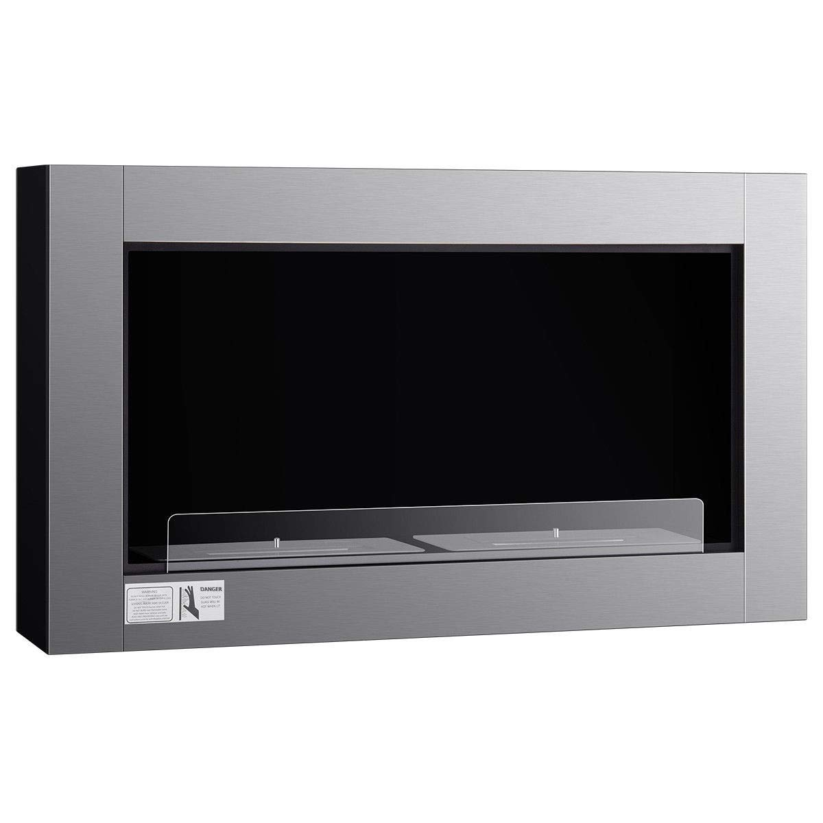NanaPluz 38'' Sliver Wall Mounted Dual Burner Bio-Ethanol Ventless Fireplace with Ebook by NanaPluz