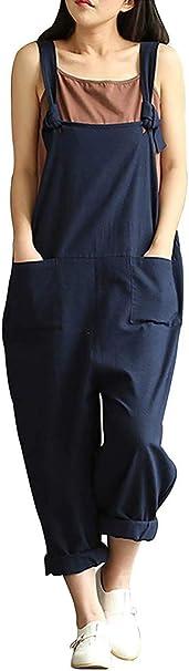 MINTLIMIT Jumpsuit Damen Latzhosen Linen Sommer Overall /Ärmellos Baggy Spielanzug Breites Bein Hosen
