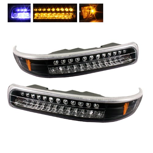 Suburban Light Parking (For Chevy Silverado Suburban Tahoe Black Bezel Amber LED Front Bumper Signal Lights Lamps Assembly)