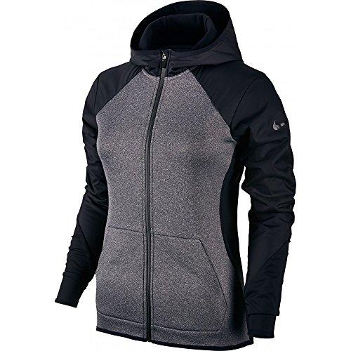 Nike Women's Therma Full Zip Hoodie Grey / Black 802919-011 (Small)