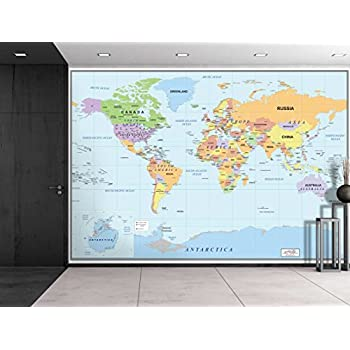 Amazon world map paper wall mural home kitchen wall26 2016 newest world map large wall mural removable wallpaper home decor 66x96 inches gumiabroncs Image collections