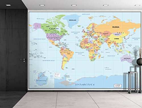 Wall26 2016 Newest World Map – Large Wall Mural, Removable Wallpaper, Home Decor – 66×96 inches