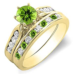 Amazoncom 10k gold round peridot white diamond ladies for Peridot wedding ring set