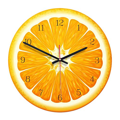KODORIA Wooden Wall Clock Lemon Design Round Fruit Wall Clock Battery Powered - Yellow