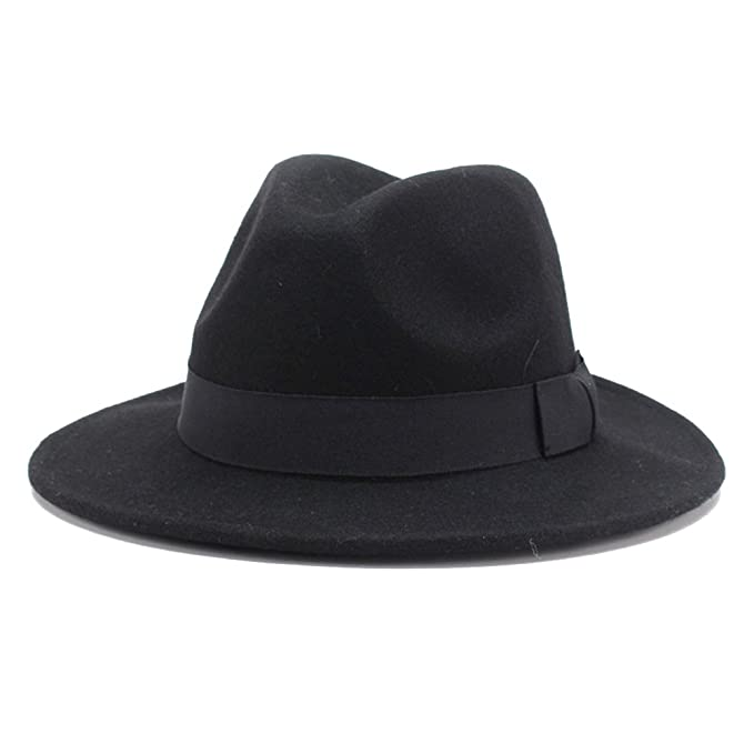 HH HOFNEN 100% Wool Fedora Hats for Women Vintage Wide Brim Fedora Cap ( Black 9d60baee307a