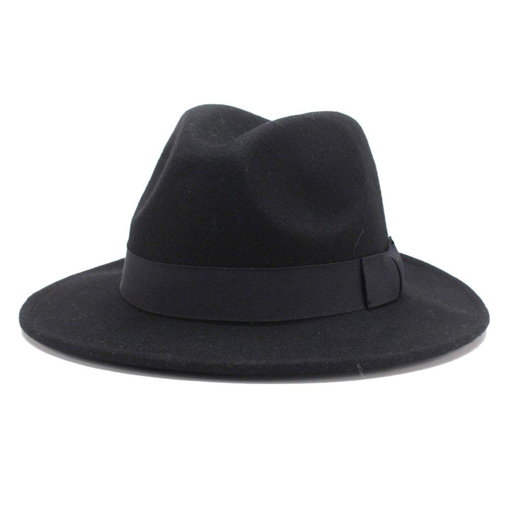 HH HOFNEN 100% Wool Fedora Hats for Women Vintage Wide Brim Fedora Cap (Black)