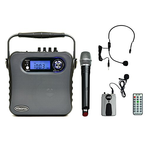 Hisonic HS488 UHF Dual Channel Wireless PA system with Bluetooth, MP3 Player, FM Radio and Voice Recorder, 90 Watts, Black Color with one handheld and one beltpack by Hisonic