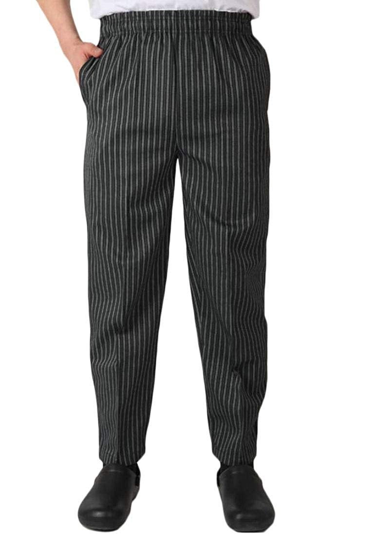 Pandapang Mens Mid Waist Straight Kitchen Stripe Trousers Western Restaurant Chef Pants