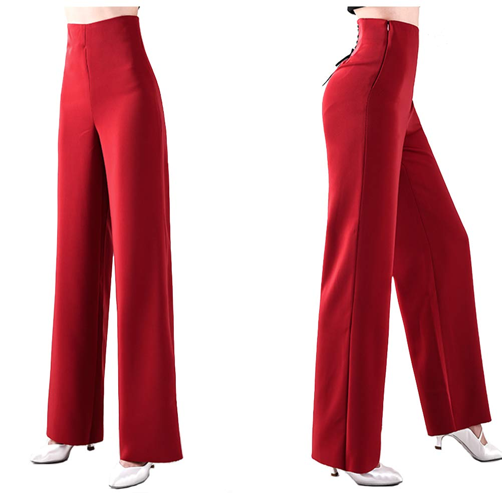 Women Professional High Waisted Wide Leg Strech Latin Modern Square Salsa Samba Practice Dance Pants (Red, 32 (Waist: 83cm)) by YILINFEIER