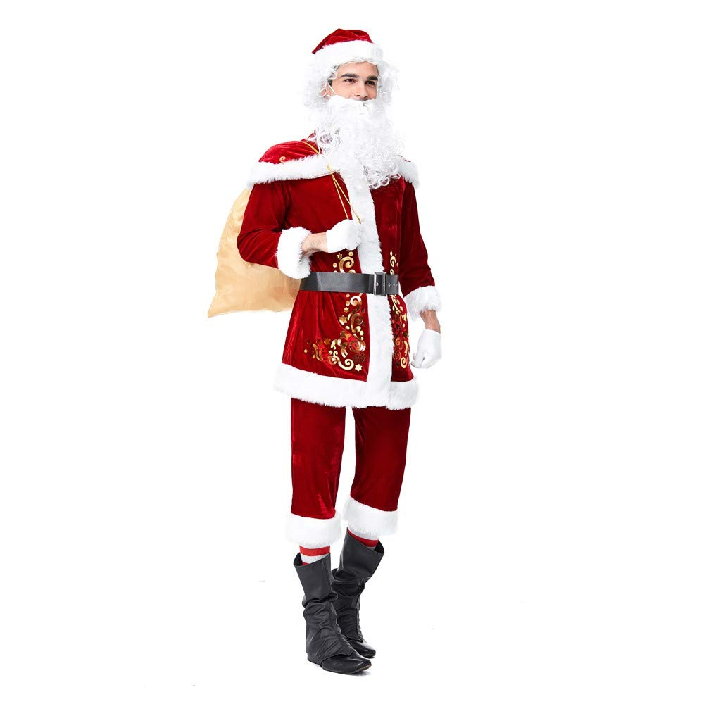 MEIbax Damen Herren Weihnachtskostüm Cosplay Ball Party Xmas Suit Weihnachten Kleidung (8 stück)