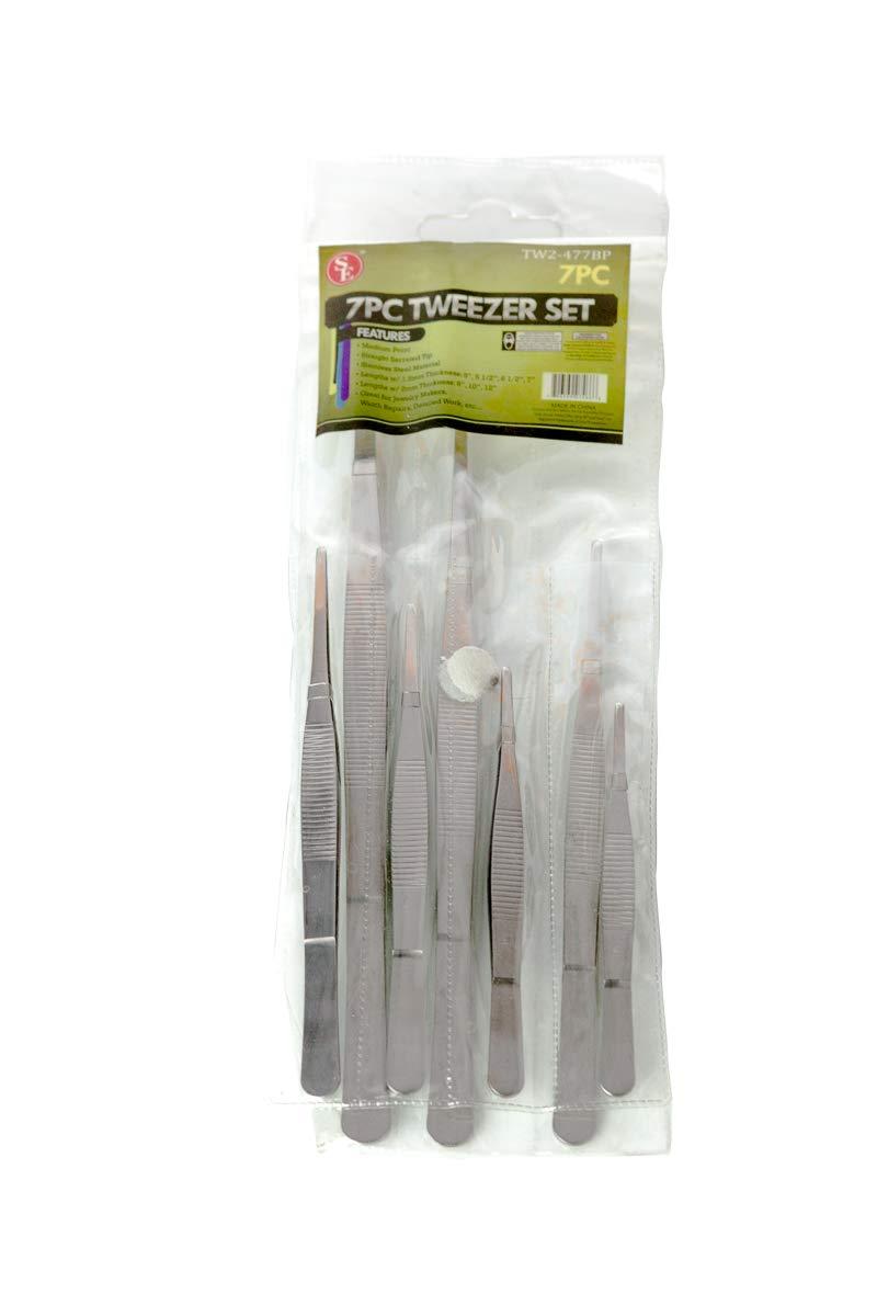 SE TW2-477BP Stainless Steel Tweezers Set (7 Piece)