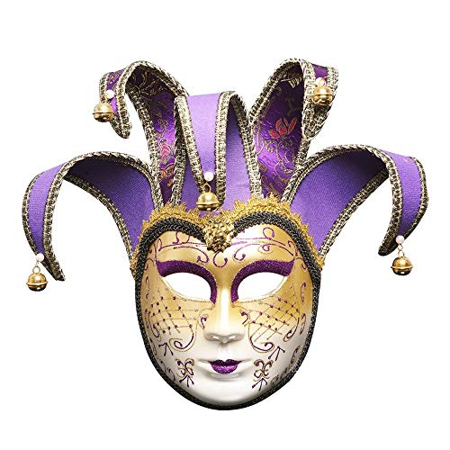 Full Face Venetian Joker Mask by Tuscom,for Masquerade Holidays Gifts Fantasy Holidays Theater Mask Mardi Gras Party Ball Mask(6 Colors) (Purple) ()