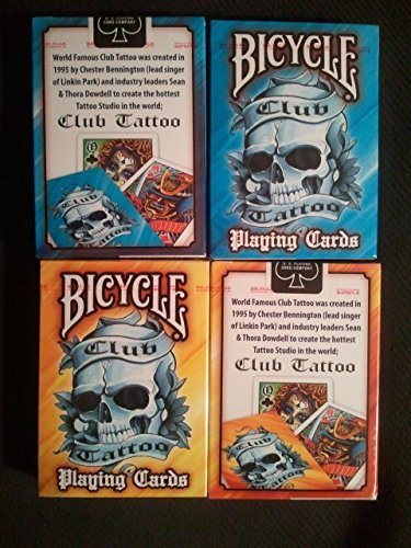 12 Deck Set Bicycle Club Tattoo Mix Blue & Yellow playing cards deck by Bicycle