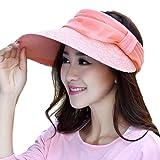 LOCOMO Women Girl Floral Mesh Strap Visor Wide Brim Hat Cap FFH163PNK
