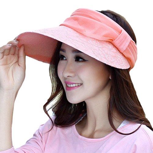LOCOMO Women Girl Floral Mesh Strap Visor Wide Brim Hat Cap FFH163PNK by LOCOMO Hats
