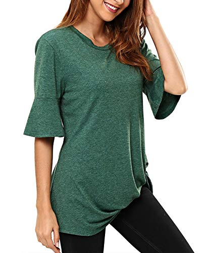KENANCY Womens Bell Sleeve Tops Green Twist Knot Tunic Haft Ruffle Sleeve Crew Neck Loose Casual Blouses