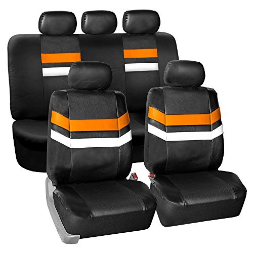 Color Split Pu Leather (FH GROUP PU006115 Varsity Spirit PU Leather Seat Covers, Airbag & Split Ready, Orange / Black Color)