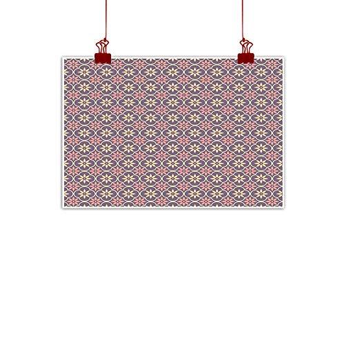 nting Prints Geometric,Floral Arrangement Oriental Middle Eastern Motifs Vintage Palette,Pale Orange Mauve Coral 48