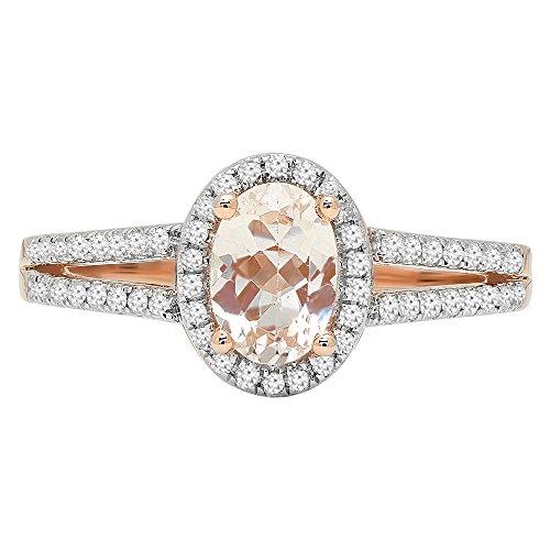 14K Rose Gold 7X5 MM Oval Gemstone & Round White Diamond Bridal Halo Engagement Ring