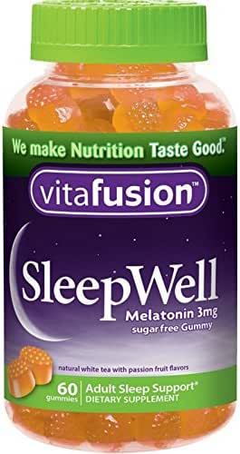 Vitafusion Sleep Well Gummy Sleep Support, 3 mg of melatonin, 60 Count (Pack of 2)