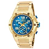 invicta gold watch blue dial - Invicta Speedway Chronograph Blue Dial Gold Ion-plated Mens Watch 19532
