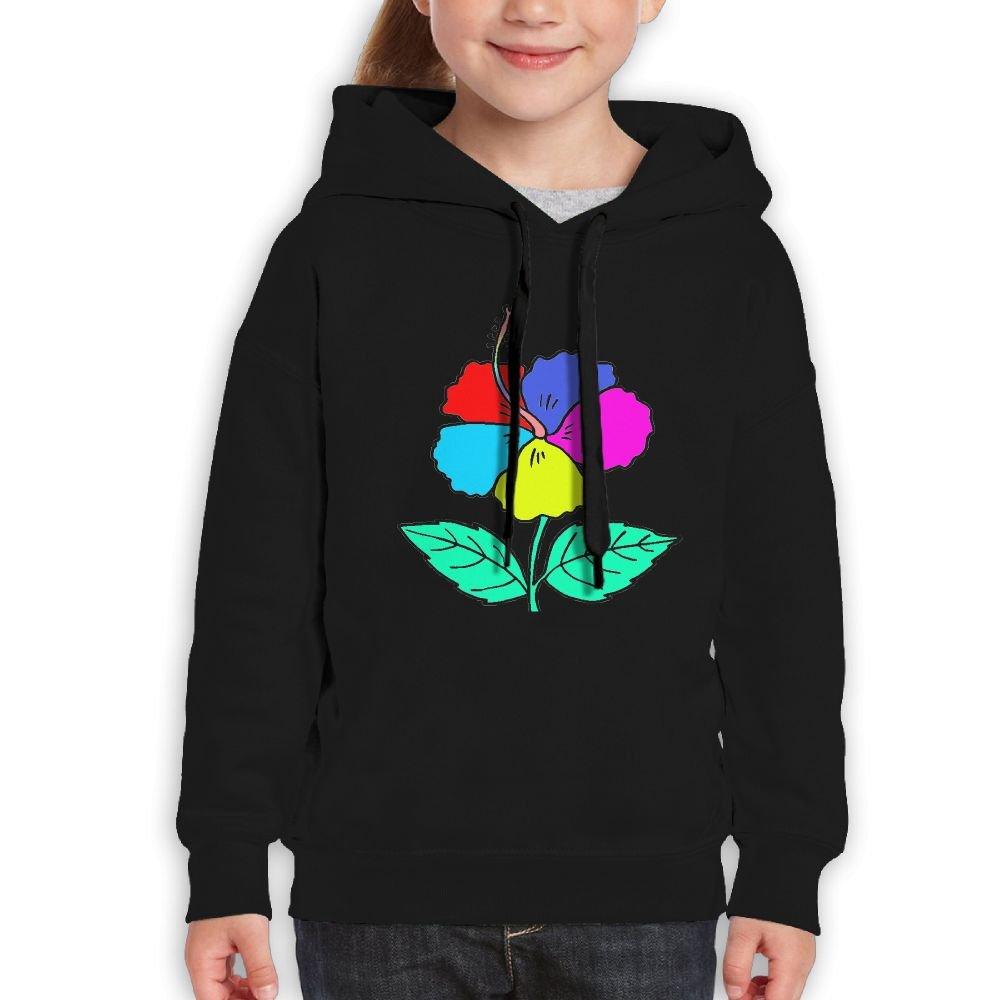 YUTaf colorful Beautiful Hibiscus Girls Boys Teens Cotton Long Sleeve Cute Sweatshirt Hoodie Unisex