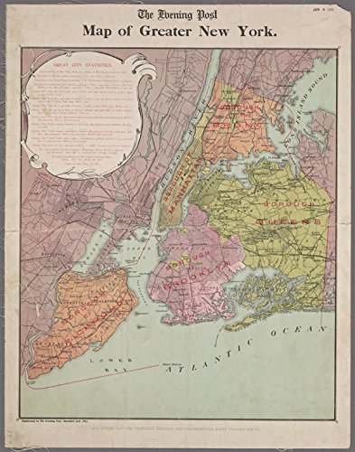 Historic 1897 Map   Map of Greater New York.   Maps of New York City and State   Manhattan   Antique Vintage Map Reproduction