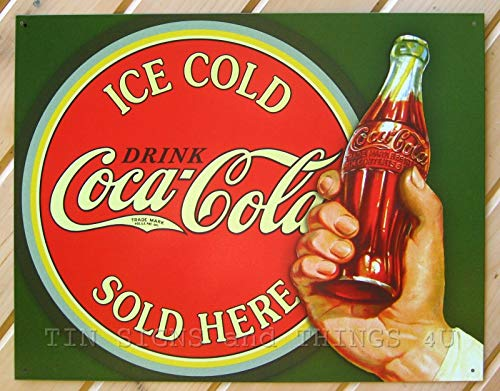 ShopForAllYou Vintage Decor Signs Drink ICE Cold Coca Cola TIN Sign Coke Sold HERE ad VTG Metal Wall Decor 1625