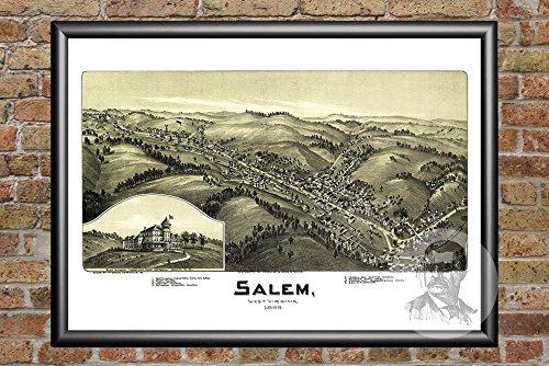 (Ted's Vintage Art Salem West Virginia 1899 Vintage Map Print   Historic Harrison County, WV Art   Digitally Restored On Museum Quality Matte Paper 12