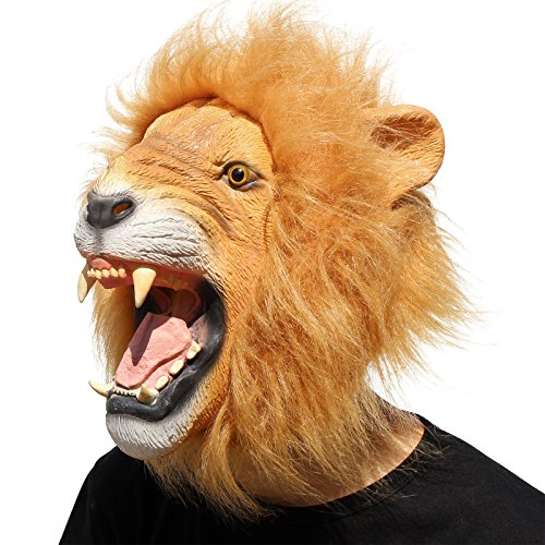 CreepyParty Novelty Halloween Costume Party Animal Head Mask - King Lion -