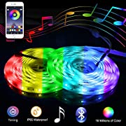 #LightningDeal Music Bluetooth Led Lights Strip Smart-Phone Controlled 32.8ft Waterproof SMD5050 300LEDs with 12V Power Supply for Indoor Decor Party and Bar
