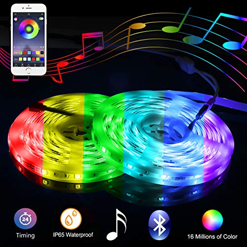 Music Bluetooth Led Lights Strip Smart-Phone Controlled 32.8ft Waterproof SMD5050 300LEDs with 12V Power Supply for Indoor Decor Party and Bar from RUICAIKUN