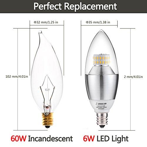 60 Watt Candelabra Light Bulbs: (3 Pack)LOHAS LED Candelabra Light Bulb, 6 Watt (60 Watt