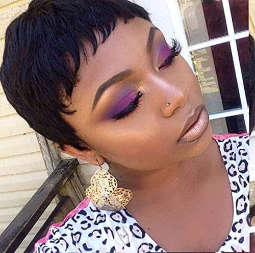 HOTKIS Short Human Hair Pixie Cut Wigs Short Wigs for Black Women (Pixie Cut-1B)