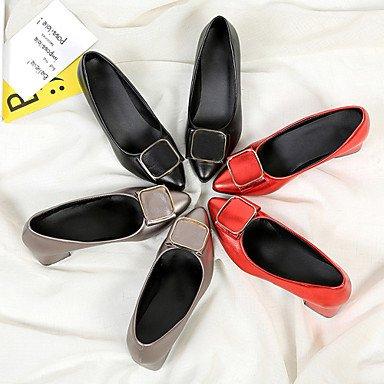 LvYuan Mujer Sandalias D'Orsay y Dos Piezas Semicuero Verano Vestido Paseo D'Orsay y Dos Piezas Talón de bloque Negro Gris Rojo 2'5 - 4'5 cms Black
