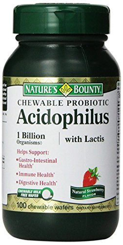 - Nature's Bounty Acidophilus with Lactis Chewable Milk Free Wafers, Natural Strawberry Flavor, 100 Count (Pack of 2)